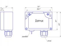 Габаритный чертеж выносного датчика пропана, исполнение IP65